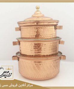سرویس قابلمه مسی سیسمونی ساخت زنجان ( نانو شده ? رنگ ثابت و درخشان حتی روی شعله ?)