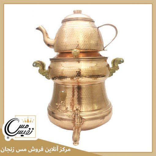 سماور رو گازی مسی چکشی زنجان طرح فرد 1 ( نانو شده با رنگ همیشه ثابت و درخشان )