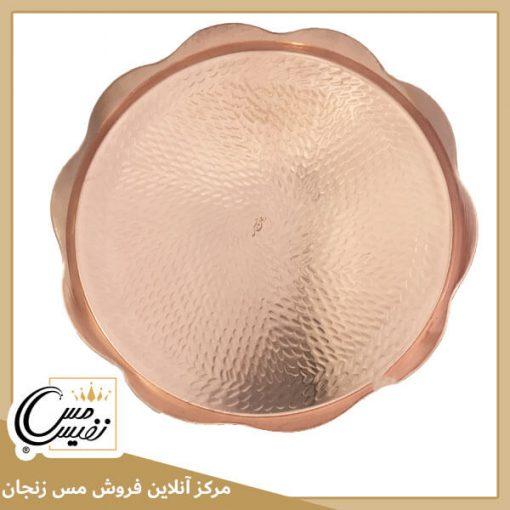 سینی مسی چکشی دستی نفیس طرح گل تولید زنجان - نانو شده با رنگ همیشه ثابت و درخشان